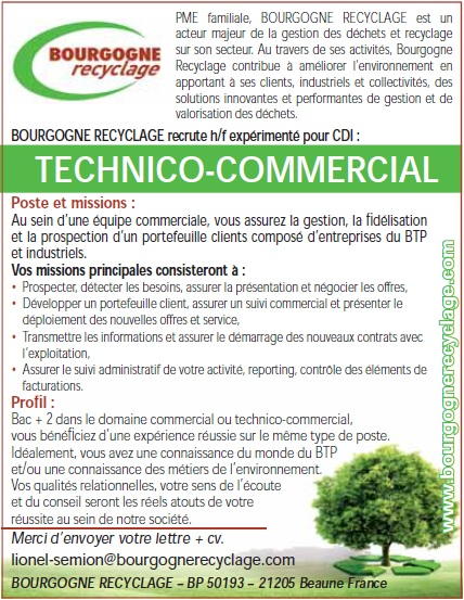 emploi bourgogne technico commercial experimente h f agriculture agroalimentaire. Black Bedroom Furniture Sets. Home Design Ideas