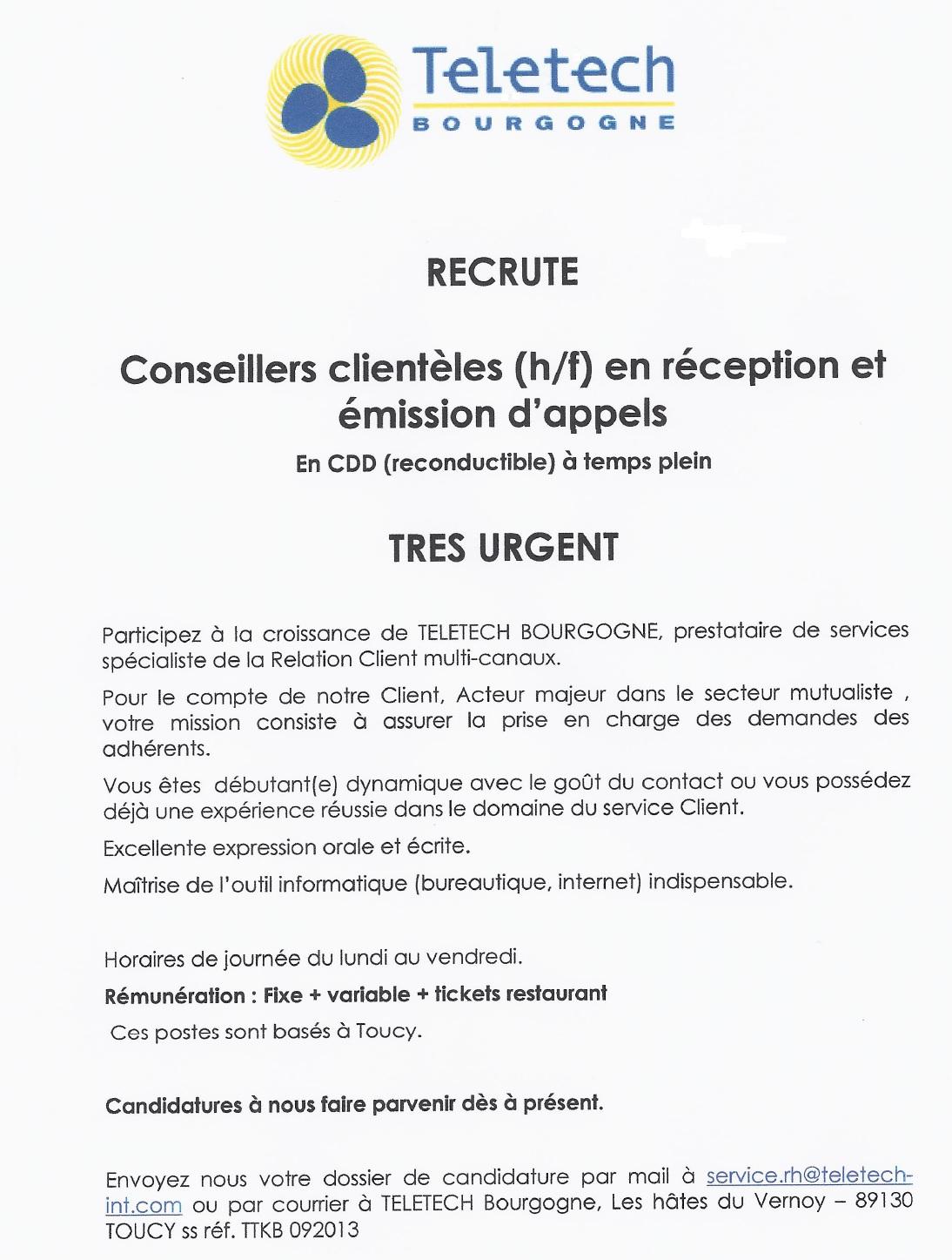 TELETECH Bourgogne recrute Conseillers Clientèles H/F en réception et émissions d'appels