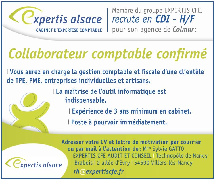 emploi alsace collaborateur comptable confirm comptabilit gestion haut rhin 68. Black Bedroom Furniture Sets. Home Design Ideas