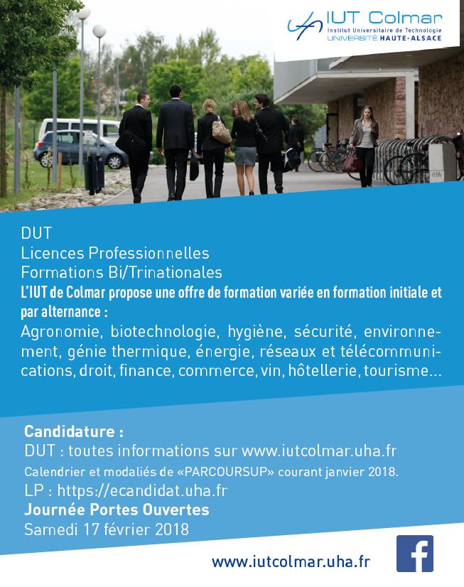 IUT COLMAR propose la formation : IUT Colmar propose des formations variée en formation initiale, par alternance et transfrontalière