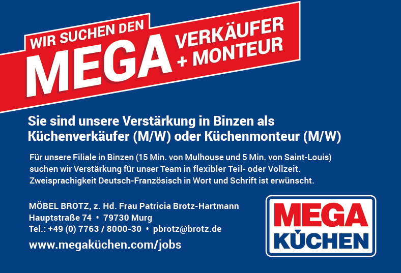 MEGA KUCHEN recrute WIR SUCHEN DEN MEGA MONTEUR