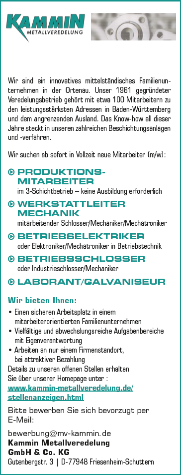 Kammin Metallveredelung GmbH & Co. KG recrute PRODUKTIONS MITARBEITER
