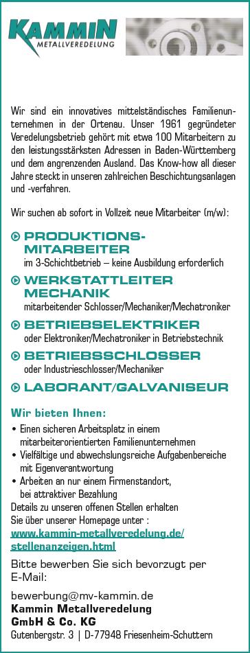 Kammin Metallveredelung GmbH & Co. KG recrute BETRIEBSSCHLOSSER
