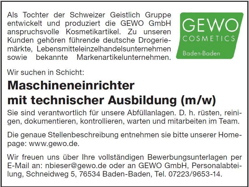 GEWO COSMETICS recrute MASCHINENEINRICHTER mit technischer Ausbildung (m/w)