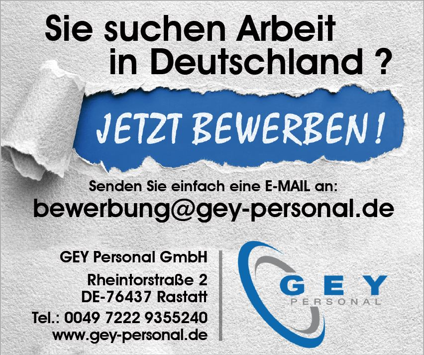 GEY Personal GmbH recrute l'emploi c'est chez Nous !