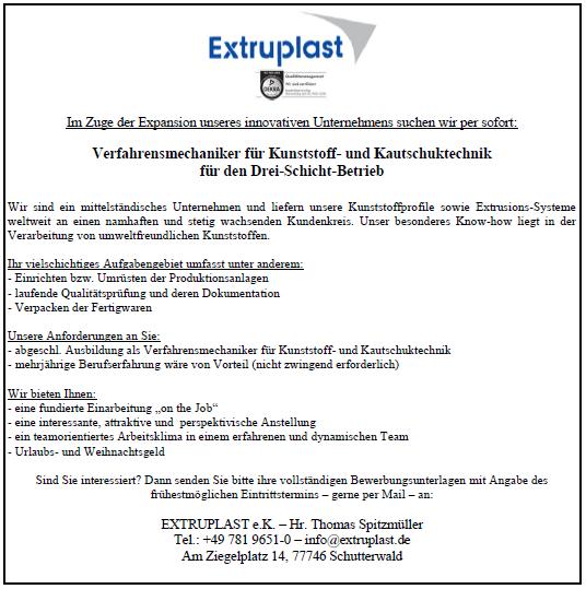 Extruplast e.k. recrute Verfahrensmechaniker für Kunststoff - und Kautschuktechnik für den drei - schicht - Betrieb