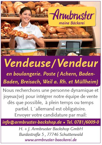 ARMBRUSTER BAECKEREI recrute Vendeuse / Vendeur en boulangerie