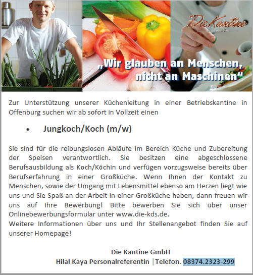 Die Kantine GmbH recrute Jungkoch/Koch (m/w)