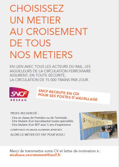 SNCF RESEAU recrute AIGUILLEURS DE LA CIRCULATION FERROVIAIRE H/F