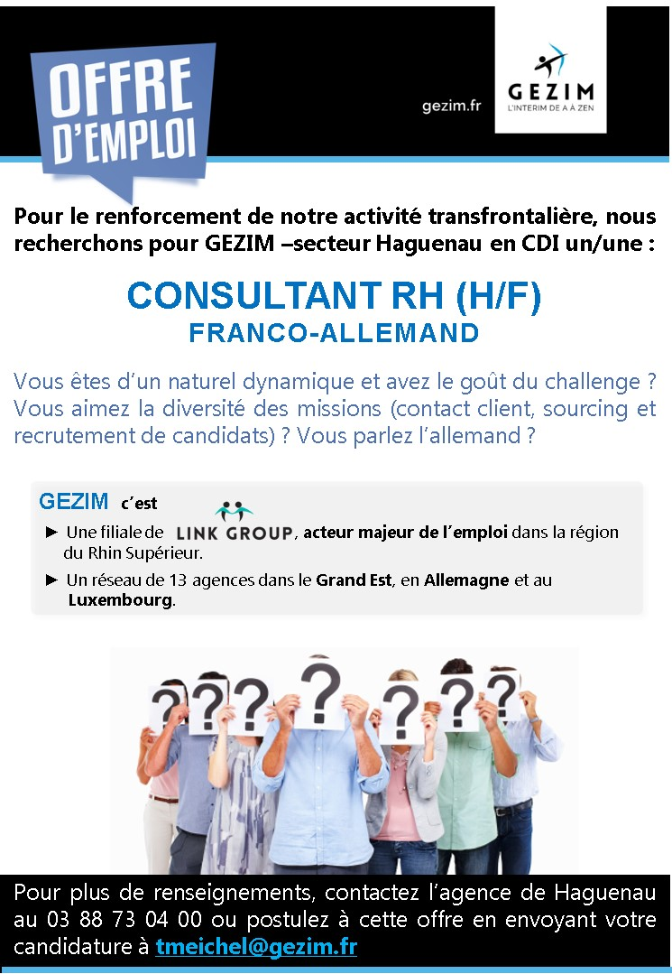 GEZIM (Strasbourg) recrute CONSULTANT RH (H/F)