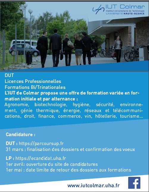 IUT COLMAR propose la formation : Licence Professionnelle Assurance, banque, finance : chargé de clientèle / Parcours patrimonial / Parcours transfrontalier