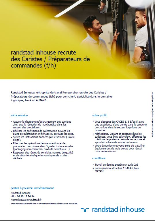 RANDSTAD INHOUSE recrute CARISTES / PREPARATEURS DE COMMANDES H/F