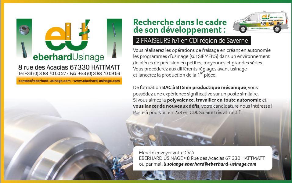 EBERHARD USINAGE recrute 2 Fraiseurs h/f en CDI