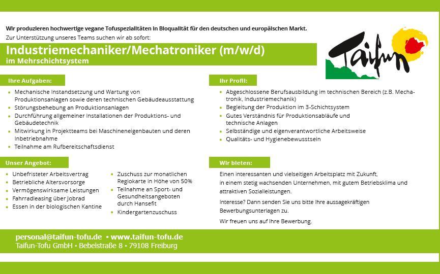 TAIFUN-TOFU GmbH recrute Industriemechaniker/Mechatroniker (m/w/d) im Mehrschichtsystem