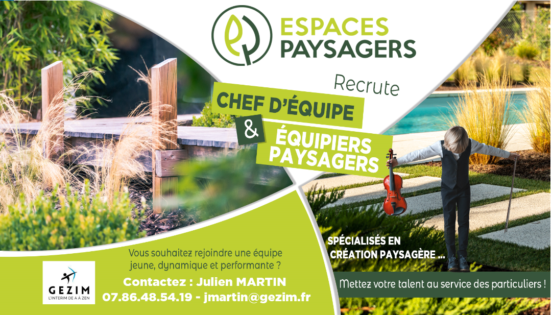 ESPACES PAYSAGERS recrute CHEFS D'EQUIPE (H/F)