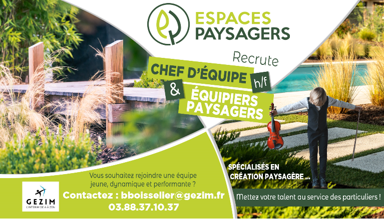 GEZIM (Strasbourg) recrute OUVRIER PAYSAGISTE H/F