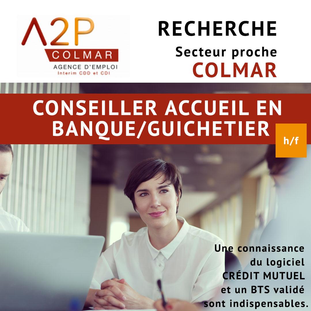 A2P recrute Conseiller accueil en banque/ guichetier
